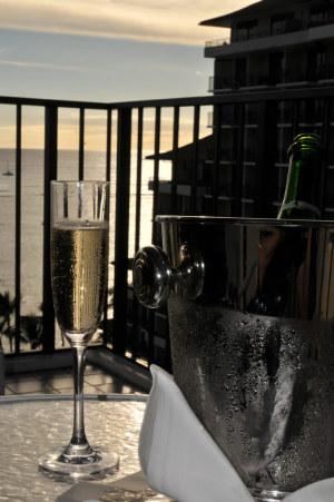 ハネムーン特典のシャンパン