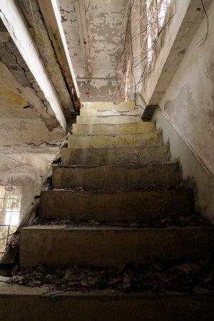 廃墟の階段はいろいろな意味でドキドキする