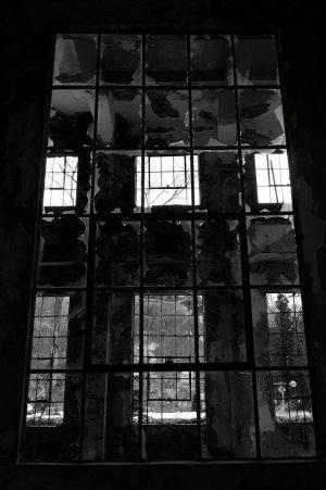 窓が印象の廃墟でした