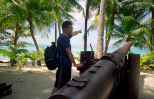 日本軍の大砲が残る