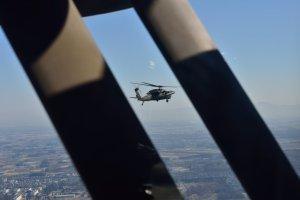 先行するUH-60JAを捉えた!
