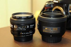 AiAF Nikkor 35mm f/2Dとのサイズ比較