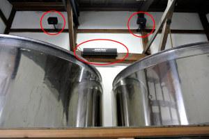 小原酒造の酒蔵に設置されたBOSEのスピーカー