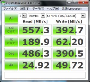 SanDisk Ultra II 480GBの速度ベンチ