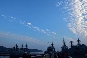 早朝の海上自衛隊横須賀基地