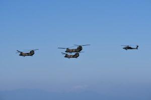 陸自のCH-47JAとAH-64D