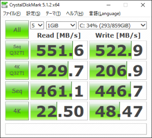 Sillicon Power 960GB SSD(CrystalDiskMark)