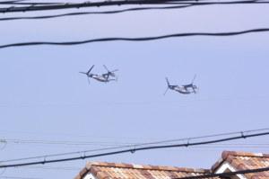 朝霞駐屯地に向かうMV-22オスプレイ