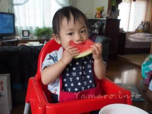 1歳だけど、すいかも食べます