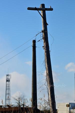 機罐場の電柱