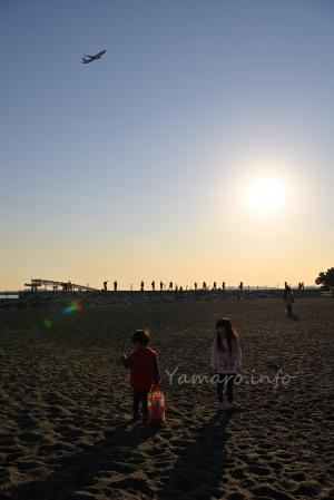 陽が落ちていく城南島海浜公園