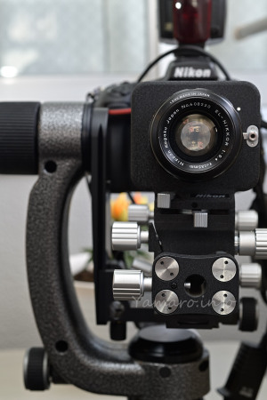 Nikon PB-4 + EL-NIKKOR 135mm F5.6をGITZOのフルードジンバル雲台に載せる