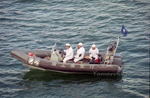 警戒中?の海上保安庁のボート