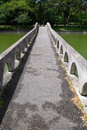 大池をまたぐ橋