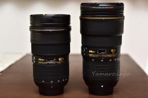 AF-S NIKKOR 24-70mm f/2.8GとEタイプのサイズ比較